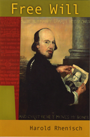 The cover features a painting of Shakespeare by Australian artist John Hagan, reconstructed from Shakespeare's skull. For illustrated details on the process of reconstruction, check out John Hagan's site.
